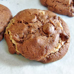 peanut butter stuffed double chocolate chip cookies
