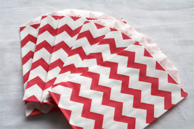 Window Shopping Wednesday - Keeley Behling  Studios - Red Chevron Bitty Bags Set of 10