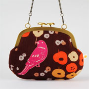 Window Shopping Wednesday - Octopurse - Mushroom purse - Etsuko pink bird on brown - metal frame purse with shoulder strap