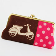 Window Shopping Wednesday - Octopurse - Long siamese - Echino scooters on brown - double metal frame purse