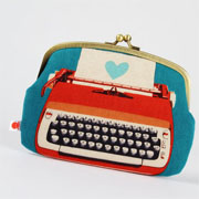 Window Shopping Wednesday - Octopurse - Maxi siamese - Typewriters in red - double metal frame purse