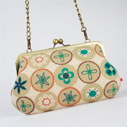 Window Shopping Wednesday - Octopurse - Little handbag - Retro dots in winter - metal frame purse with shoulder strap